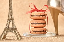 Macarons. Eiffel Tower, gold heels