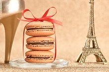 Macarons. Eiffel Tower, gold heels