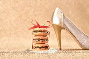 Macarons dessert, shiny gold heels