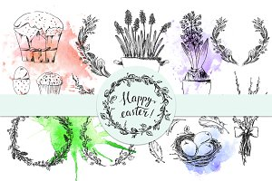 Hand drawn Easter set