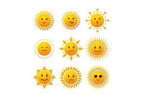 Sun Smile Icon Set. Vector