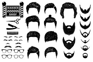 A set of hairstyles and beards