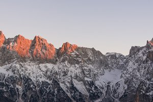 Mountain panorama at sunset