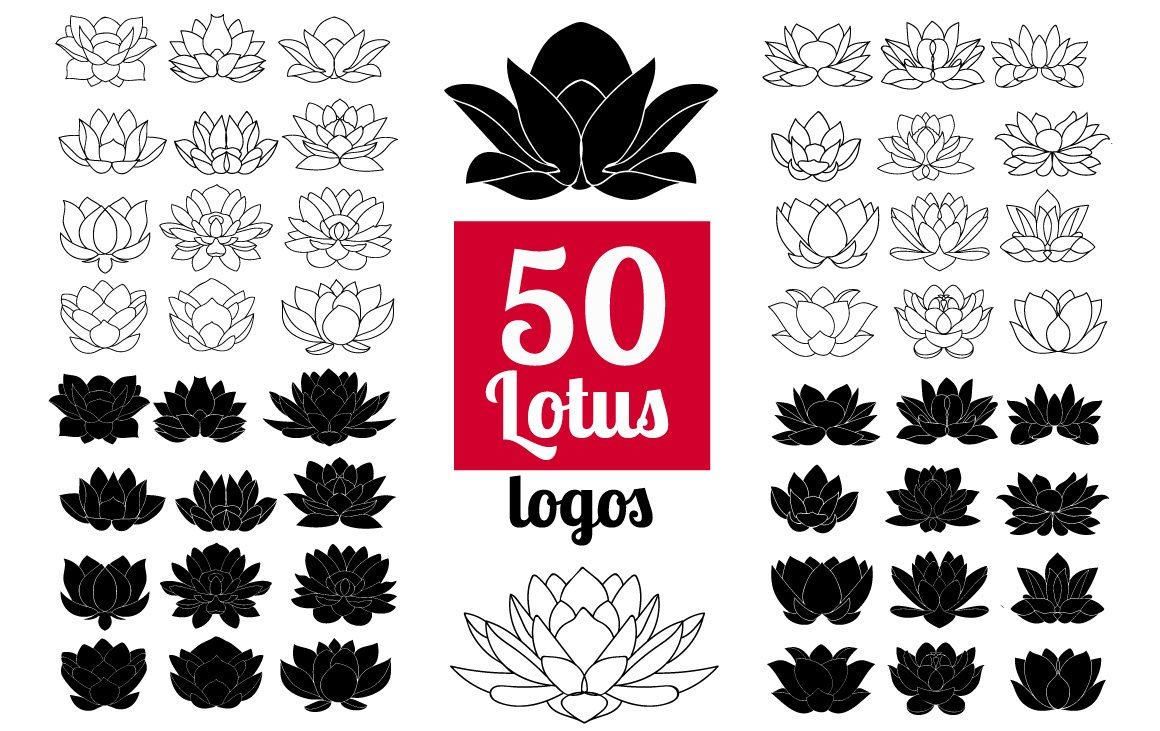 50 lotus flowers logo bundle icons creative market izmirmasajfo