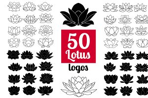 50 Lotus Flowers: Logo Bundle