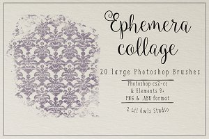 Ephemera Collage Photoshop Brushes