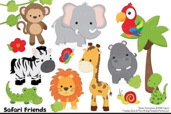 cute jungle animal clipart illustrations creative market