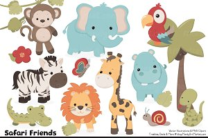 Cute Safari Animal Vectors & Clipart