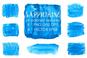 Blue oil  painted textures clip art