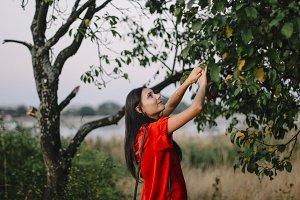 Brunette girl looking for apples