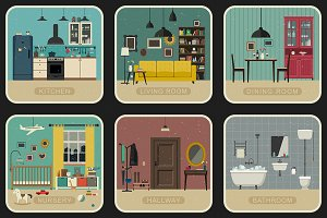 Set of 9 interior rooms