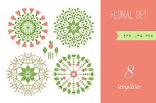 Floral set of 8 templates