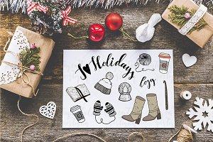Set of  winter doodle