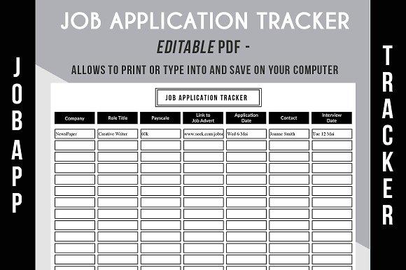 job application tracker pdf resume templates creative market
