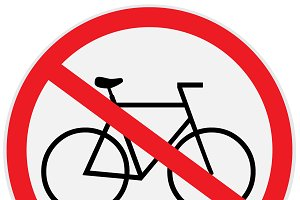 Vector of no bikes allowed sign