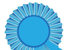 Blue rosette ribbon