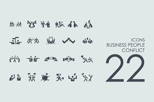22 Business People Conflict icons