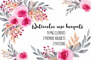Watercolor rose clipart RB-01
