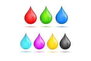 Drops CMYK and RGB. Vector