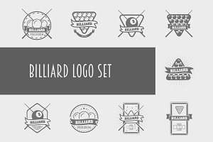 Billiard logos and icons set