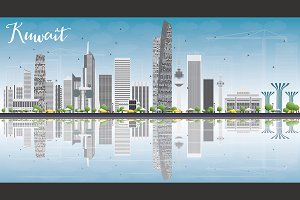 Kuwait Skyline with Gray Buildings