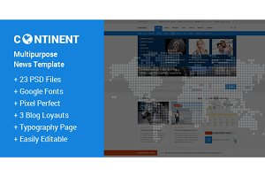 Continent — News PSD Template