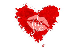 red heart I love you lettering. kiss