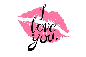 i Love you lettering kiss pink lips