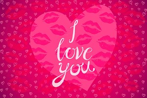 card I love you lettering kiss heart
