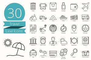 30 Travel Line Icons