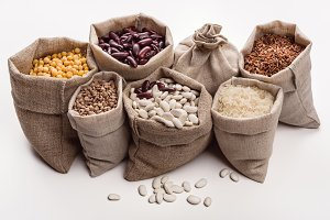 Set of beans and cereals in the bag.