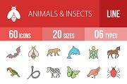 60 Animals Insects Line Filled Icons