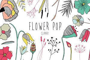 Pop Art Flower Clipart - Vector
