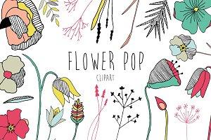 Pop Art Flower Clipart - Vector