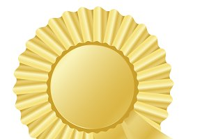 golden rosette ribbon