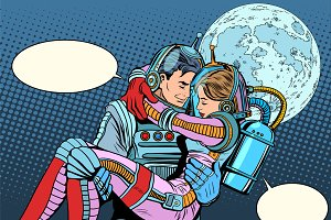 Couple astronauts love man woman