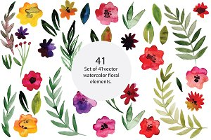 Watercolor flowers, vector