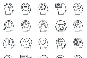 Human heads, motivation icon set