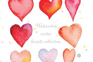 Watercolor hearts collection vector