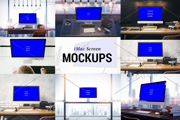 9 iMac Screen Photo Mockups
