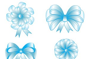 Set of four nice blue bows