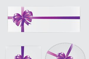 Purple bow, ribbon and gifts