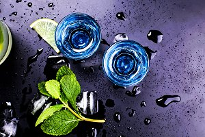 Exquisite blue liqueur