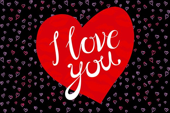 I love you in red heart vintage