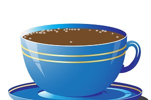Vector illustration of blue cup
