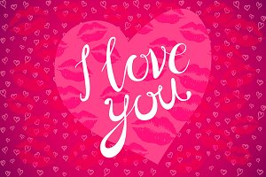 I love you lettering pink heart