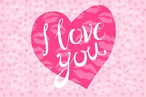 i love you pink heart kiss