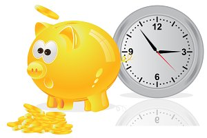 Piggy bank with coins, time is money