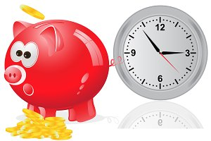 Time, money, concept, piggy bank
