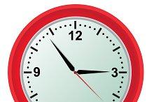 Clock, vector, illustration, red
